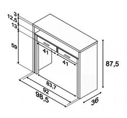 Escritorio desplazable for Dimensiones de un escritorio