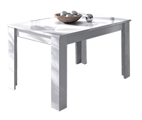 Mesa comedor rectangular extensible en color blanco brillo modelo ICIAR